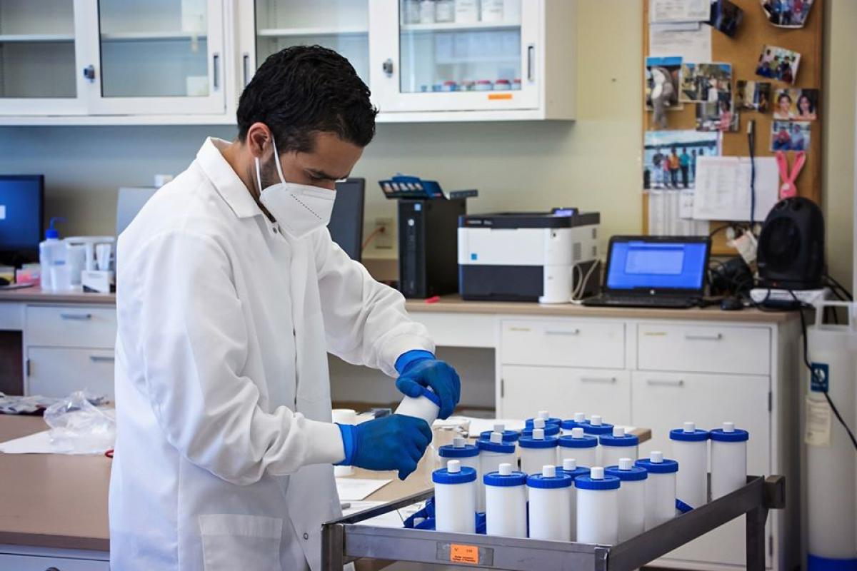 Young scientist in a college laboratory