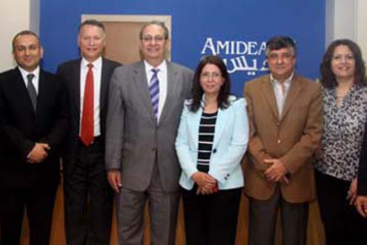 Members of the AMIDEAST/Palestine Advisory Board with AMIDEAST President & CEO Theodore Kattouf (center) and Country Director Steven Keller (far right).