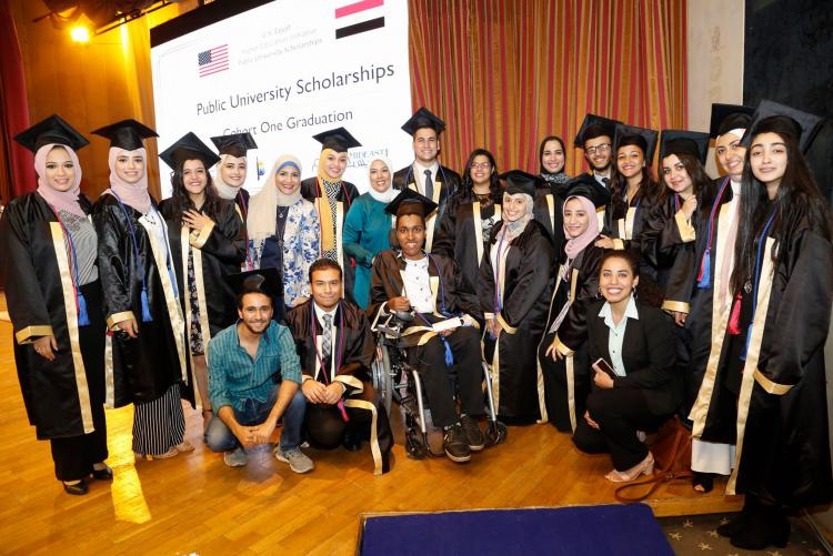 Group of graduates together in Egypt
