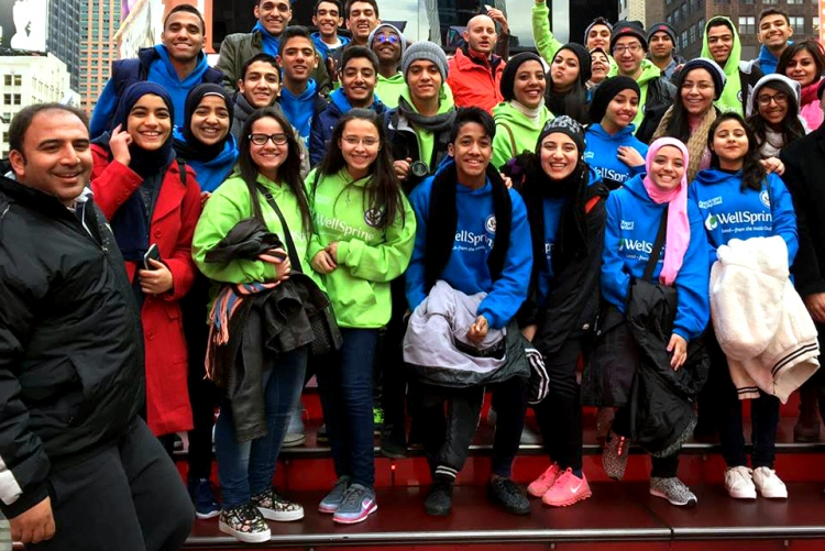 Access students in Times Square