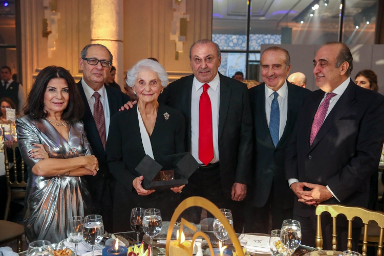 From left to right: Incoming ALAB Chair Wafa Saab, AMIDEAST President & CEO Theodore Kattouf, Honoree Leila Saad, outgoing ALAB Chair Anis Nassar, ALAB Member Robert Tarazi, and Minister Fady Abboud