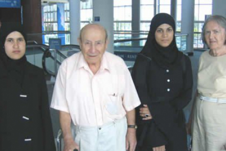 Dr. Fahim Qubain and his wife Nancy greeting new Hope Fund students Manal Zaher and Hiba Al-Assi at Roanoke Airport in 2006. Manal excelled at Bryn Mawr and Hiba is pursuing her PhD in Theoretical Physics at Virginia Tech.