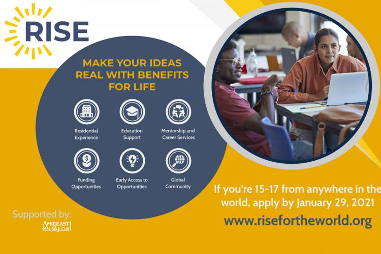 Graphic advertising the RISE program with photo of students looking at a laptop