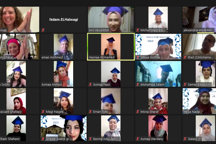Egyptian Skills for Success participants at their virtual graduation.