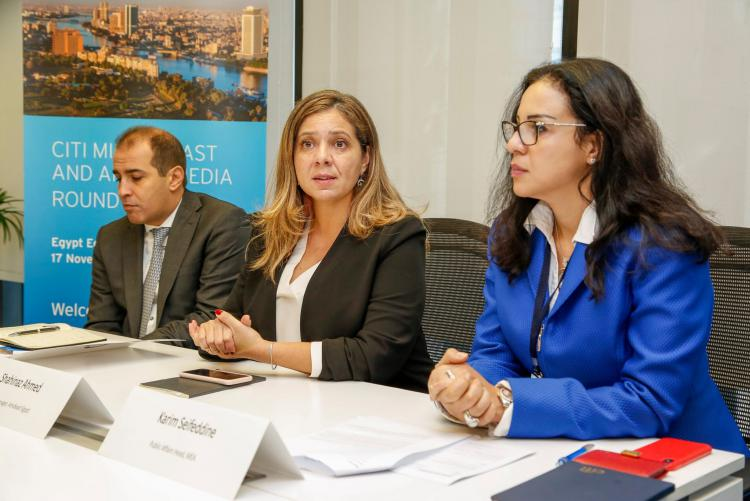 Shahinaz Ahmed, AMIDEAST's country director for Egypt (center), announcing the launch of YEP II during a media roundtable.