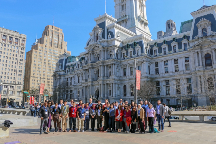 A group of Fulbrighters exploring Philadelphia.