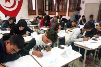 Tunisian students participating in an Empowering Youth and Educators (EYE) training session