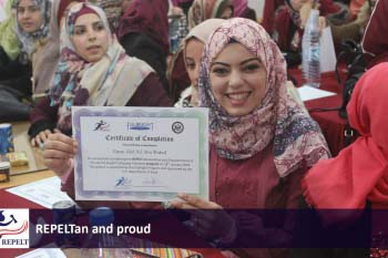 """Fatma launched an intensive training program for empowering English language teachers in Gaza.  """"It aims at bridging the gap between the university learning and the real world of teaching,"""" she says."""