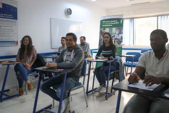 Students attending class