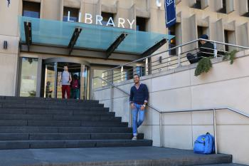Student at library on campus