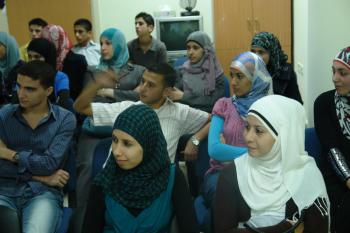 Students attending class