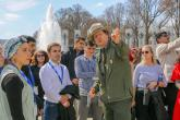 Students at WWII memorial with Park Ranger
