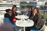 Students hanging out at a rooftop cafe in Rabat, Morocco