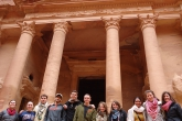 A group of students in front of the Treasury at Petra