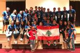 A group of YES students hold the Lebanese flag